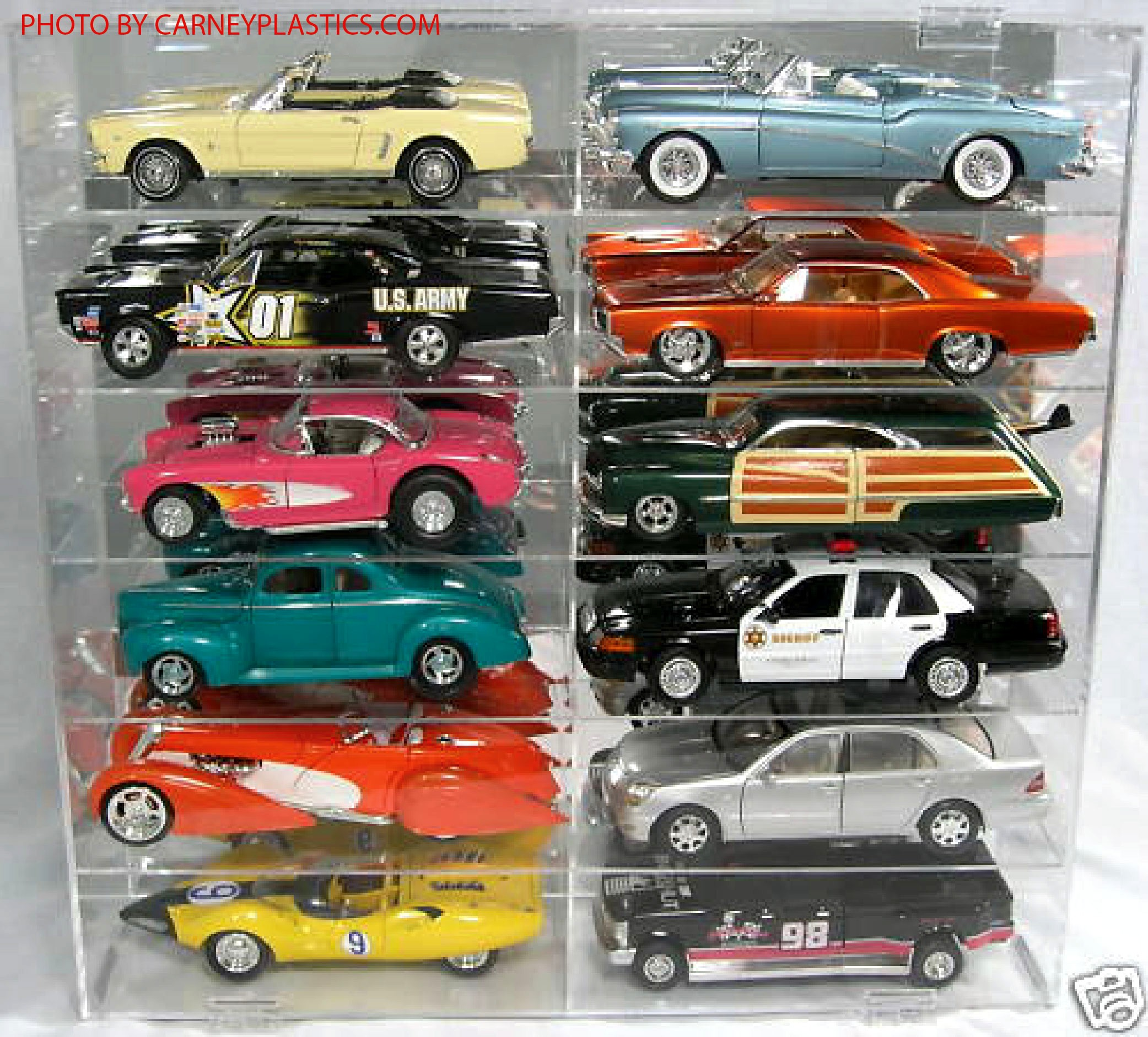 Model Car Display Case 1/18 Holds 12 Cars