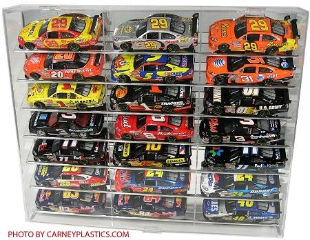 nascar diecast model car display case 21 car 1 24 angled shelves rh shop carneyplastics com diecast car display shelf rc car display shelf