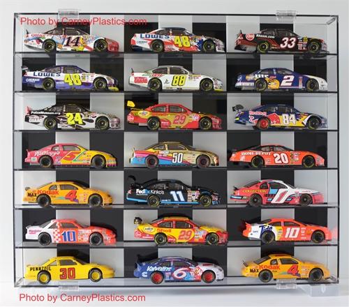 nascar diecast model car display case 21 car 1 24 checker back rh shop carneyplastics com toy car display shelf diy model car display shelves bend or