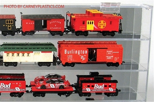 TRAIN DISPLAY CASE 15 Model Train Cars HO