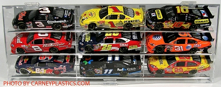 NASCAR Diecast  Model Car Display Case 9 Car 1/24 Angle shelves